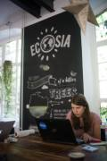 Verena Henners works on deadline in the beautiful Ecosia space.